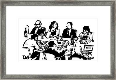 Seven People Are Seen Sitting At A Table Framed Print by Drew Dernavich