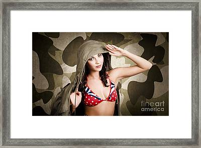 Sexy Vintage Army Girl Saluting Framed Print by Jorgo Photography - Wall Art Gallery