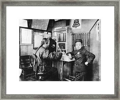 Sf Chinese Telephone Exchange Framed Print by Underwood Archives