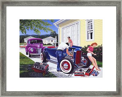 Shade Tree Mechanic Framed Print by Bruce Kaiser