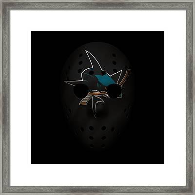 Sharks Jersey Mask Framed Print by Joe Hamilton