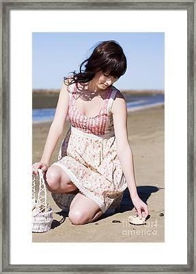 She Collects Sea Shells By The Sea Shore Framed Print by Jorgo Photography - Wall Art Gallery