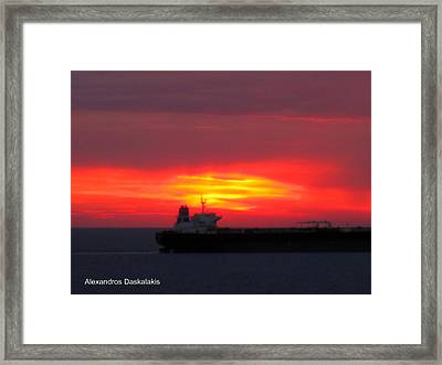 Ship And Sunset Framed Print by Alexandros Daskalakis