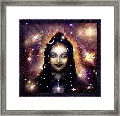 Shiva In Blue Space Framed Print by Ananda Vdovic