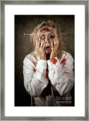 Shock Horror. Surprised Businesswoman Zombie Framed Print by Jorgo Photography - Wall Art Gallery