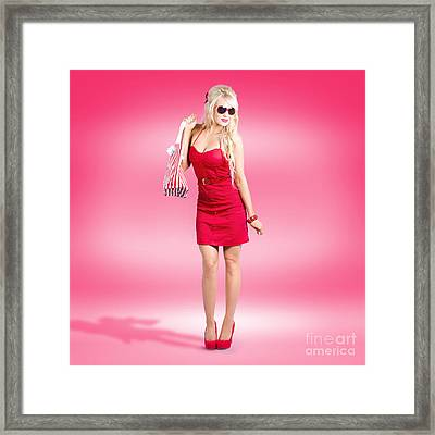 Shop Till You Drop. Female Retail Shopper In Red Framed Print by Jorgo Photography - Wall Art Gallery