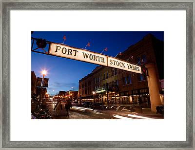 Signboard Over A Road At Dusk, Fort Framed Print by Panoramic Images