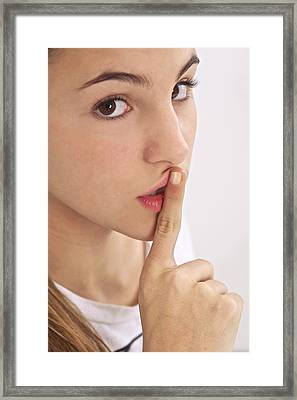 Silence Gesture Framed Print by Science Photo Library