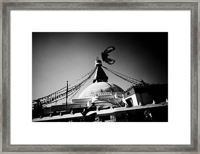 Silhouette Boudhanath Giant Buddhist Stupa In Kathmandu Himalaya Nepal  Framed Print by Raimond Klavins