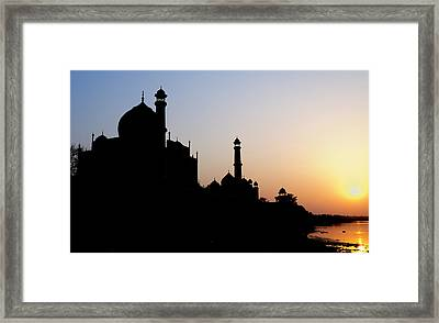 Silhouette Of The Taj Mahal At Sunset Framed Print by Steve Roxbury