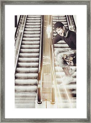 Skater Man Jumping With Brand New Mobile Phone Framed Print by Jorgo Photography - Wall Art Gallery