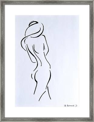 Sketch Of A Nude Woman Framed Print by Anna Androsovski