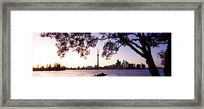 Skyline Cn Tower Skydome Toronto Framed Print by Panoramic Images