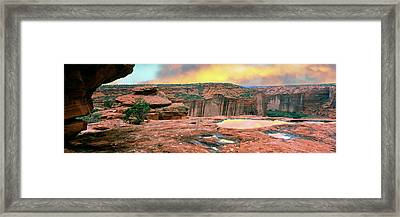 Slickrock Waterpocket Pools Reflect Framed Print by Panoramic Images