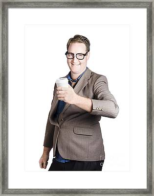 Smiling Business Man With Coffee Drink. Work Break Framed Print by Jorgo Photography - Wall Art Gallery