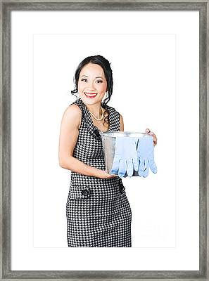 Smiling Female Cleaner Ready To Start Housework Framed Print by Jorgo Photography - Wall Art Gallery
