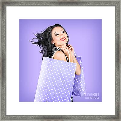 Smiling Girl Shopper Holding Purple Shopping Bags Framed Print by Jorgo Photography - Wall Art Gallery