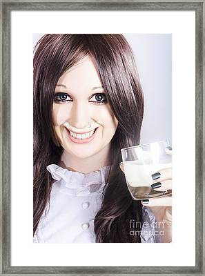 Smiling Woman Drinking Milk With A Milky Moustache Framed Print by Jorgo Photography - Wall Art Gallery