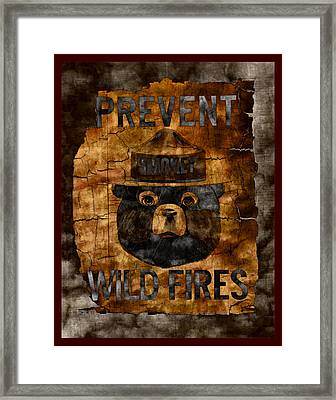 Smokey The Bear Only You Can Prevent Wild Fires Framed Print by John Stephens