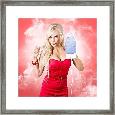 Smoking Hot Blond Cleaning Woman With Red Hot Iron Framed Print by Jorgo Photography - Wall Art Gallery
