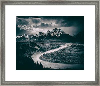 Snake River In The Tetons - 1930s Framed Print by Mountain Dreams