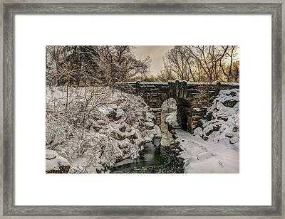 Snow-covered Glen Span Arch, Central Framed Print by F. M. Kearney