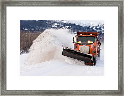 Snow Plough Clearing Road In Winter Storm Blizzard Framed Print by Stephan Pietzko