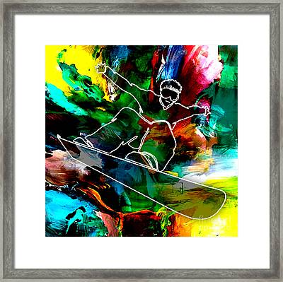 Snowboarding Painting Framed Print by Marvin Blaine