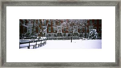 Snowcapped Benches In A Park Framed Print by Panoramic Images