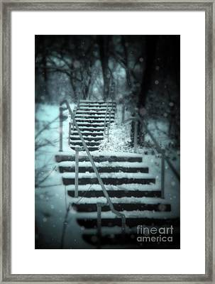 Snowy Stairway Framed Print by Jill Battaglia