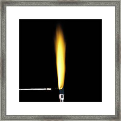 Sodium Flame Test Framed Print by Science Photo Library