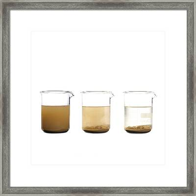 Soil Settling Out Of Water Framed Print by Science Photo Library