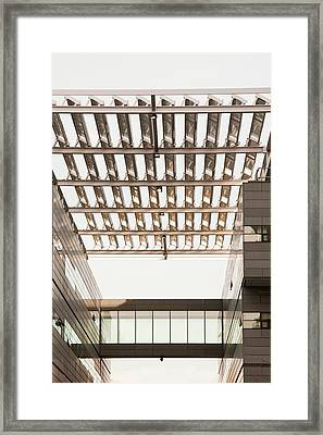Solar Panels On The Alan Turing Building Framed Print by Ashley Cooper