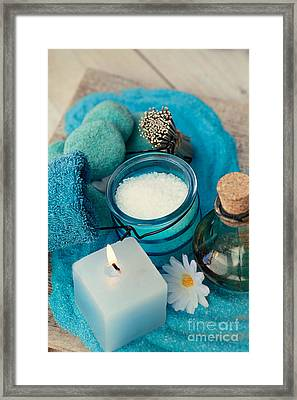 Spa Setting With Bath Salt  Framed Print by Mythja  Photography