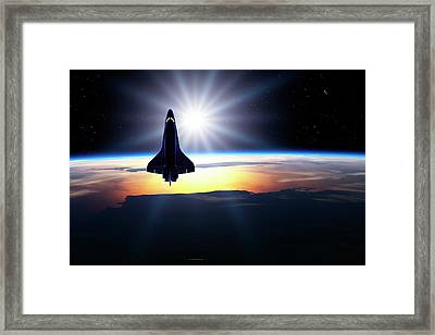 Space Shuttle In Orbit Framed Print by Detlev Van Ravenswaay