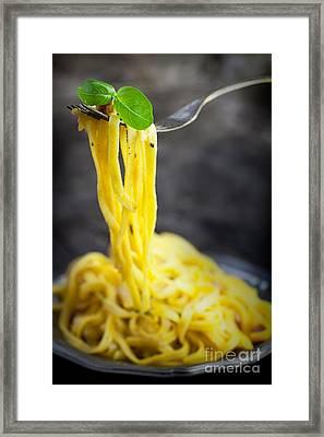 Spaghetti Carbonara Framed Print by Mythja  Photography