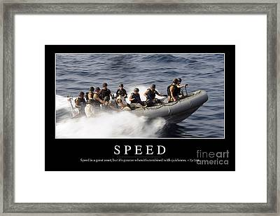 Speed Inspirational Quote Framed Print by Stocktrek Images