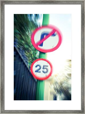 Speed Sign Framed Print by Tom Gowanlock
