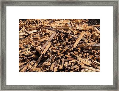 Split Wood Pile In Forest Framed Print by Frank Gaertner