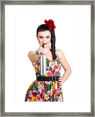 Spray And Wipe Housewife Framed Print by Jorgo Photography - Wall Art Gallery