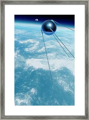 Sputnik 1 In Orbit Framed Print by Detlev Van Ravenswaay