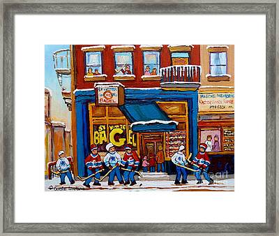 St. Viateur Bagel With Hockey Framed Print by Carole Spandau