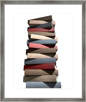 Stack Of Generic Leather Books Framed Print by Allan Swart