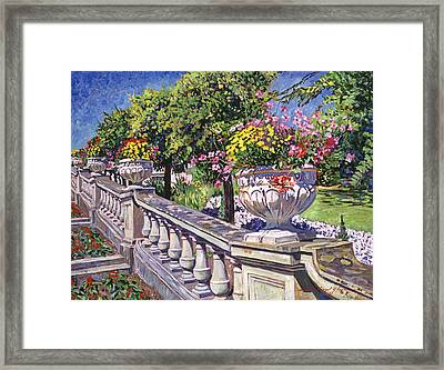 Stairway Of Urns Framed Print by David Lloyd Glover