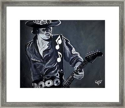 Stevie Ray Vaughan Framed Print by Tom Carlton