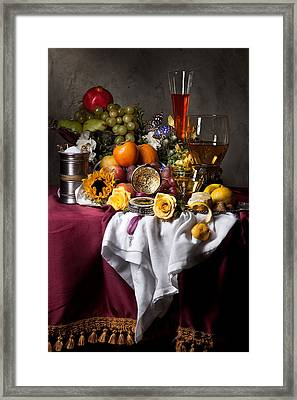 Still Life With Fruits And Drinking Vessels Framed Print by Levin Rodriguez
