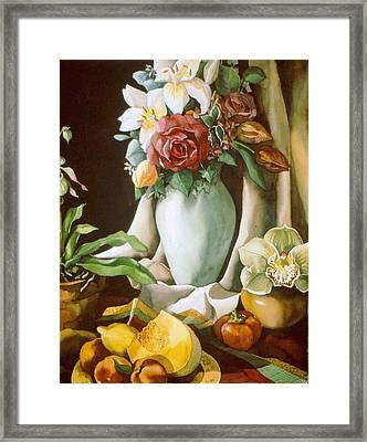 Still Life With Melon Framed Print by Alfred Ng