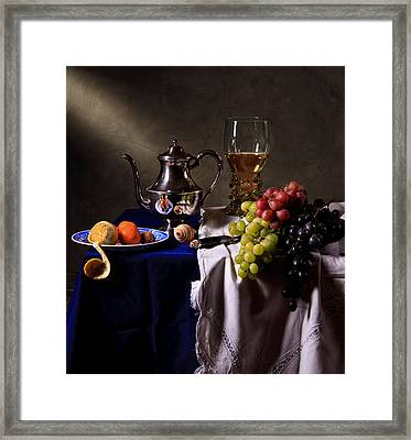 Still Life With Roemer And Silver Tea Pot Framed Print by Levin Rodriguez