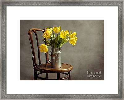 Still Life With Yellow Tulips Framed Print by Nailia Schwarz
