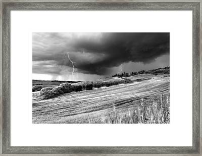 Storm Approcing The Tuscan Countryside Framed Print by Yuri Santin